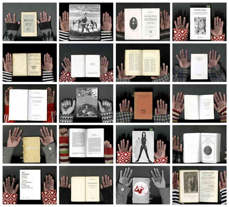 """«Dans l'exposition, """"Les Femmes Savantes"""" sont placées à la sortie du """"couloir du goût"""" où les peintures sont penchées, les sculptures soi-disant réalisées par Bouvard et Pécuchet. Trissotin, cet imbécile prétentieux et sot –magique invention de Molière –,les précède. Cette photo montre des livres savants ou des couvertures DVD de films Z, entre mes mains. Je déteste la culture uniforme et arrogante, qui refuse l'amusement et les soi-disant impuretés. »"""