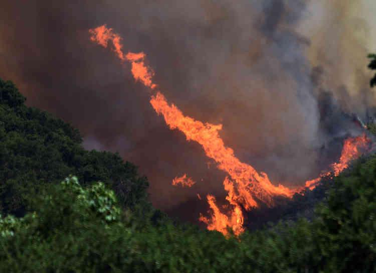 Malgré d'importants moyens de secours, seulement 15% de l'incendie était maîtrisé lundi matin, selon le département californien de protection contre les incendies, Cal Fire.