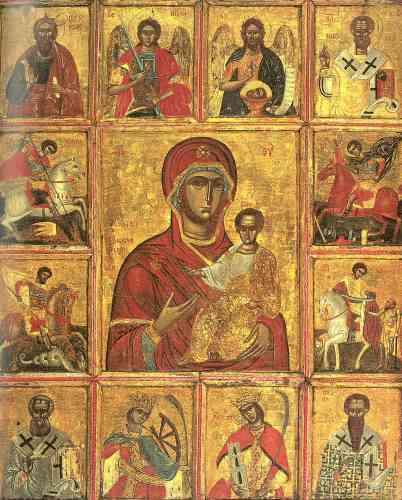 « L'auteur de cette icône melkite d'influence grecque est le fondateur de la fameuse école d'Alep qui se développe à la période ottomane. Sur quatre générations, les peintres de la famille al-Musawwir vont participer au renouveau de l'art de l'icône. La Vierge à l'enfant est ici entourée de douze portraits de saints, dont quatre cavaliers.»