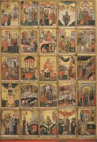 «C'est debout (acathiste en grec signifie «non assis») et en hommage à la Vierge que cet hymne byzantin en 24 strophes se chante pendant la période de Carême. L'icône est composée de 24 petits tableaux évoquant la vie de Marie, organisés autour du roi David, en sa qualité d'auteur des psaumes hébraïques.»