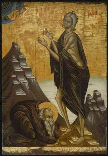 «Marie l'Egyptienne, ancienne prostituée ayant fait le vœu de se retirer du monde, figure sur de nombreuses icônes de dévotion. Elle y apparaît le plus souvent au visage émacié et vêtue de haillons, témoignages de sa vie de repentance dans le désert transjordanien.»
