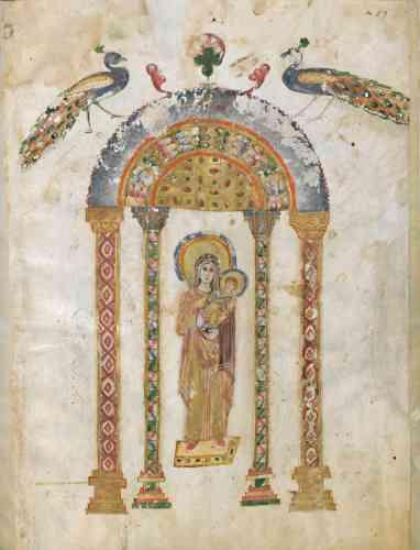 «Cet évangéliaire (recueil des Evangiles) est l'un des plus anciens manuscrits syriaques à peinture connus. Il porte le nom du scribe Rabbula qui en termina la copie.»