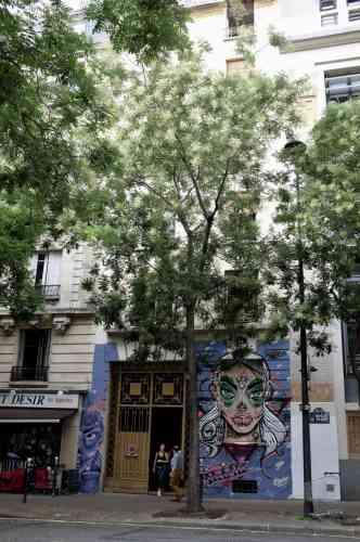 Au 148, rue de Tolbiac, la façade de l'immeuble est intacte, seul le porche est repeint en violet. Sur les volets du rez-de-chaussée, une jeune fille toise les visiteurs. Avec ses grands yeux bleus aux contours outrageusement maquillés de vert et sa bouche bardée de point de suture, la «Santa Muerte» revisitée par le graffeur Jallal donne le ton.
