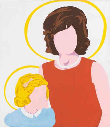 «Les visages ont beau être vides et sans détails, les sujets de ce tableau n'en restent pas moins identifiables par la signature des cheveux, des vêtements et du collier de perles. Allan D'Arcangelo a travaillé à partir d'un portrait photographié de Jackie et Caroline Kennedy– et les a dépeint en icônes culturelles et non religieuses, dans cette saisissante image laïque.»