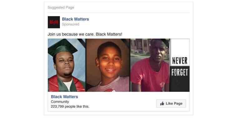 « Les Noirs comptent» est le nom de cette page. Les contenus soupçonnés d'être liés à la Russie évoquaient différents sujets de société polémique, dont le mouvement«Black lives matter», qui dénonce les violences policières à l'égard des Noirs aux Etats-Unis.