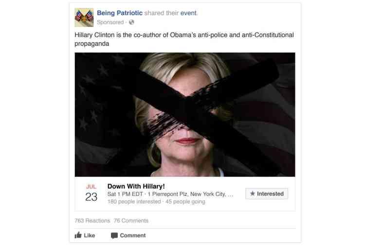 Cette page nommée« Etre patriote», appelle à un rassemblement contre Hillary Clinton. Elle la présente comme la« coauteure de la propagande anti-police et anticonstitutionnelle d'Obama».