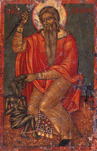 «Evêque grec mort martyr sous Septime Sévère en 202 ou 203, saint Charalampe tient par les cheveux le démon, symbole de la maladie et de la mort et le frappe de sa crosse épiscopale. La majesté du saint contraste avec la laideur du diable, représenté comme un monstre hybride à la peau verte, à la crinière désordonnée et à la denture effrayante. Il s'agit d'une petite icône domestique, dont le thème renvoie à une fonction de protection. Charalampe était en effet considéré comme le protecteur des hommes et des bêtes contre la peste et les maladies contagieuses.»