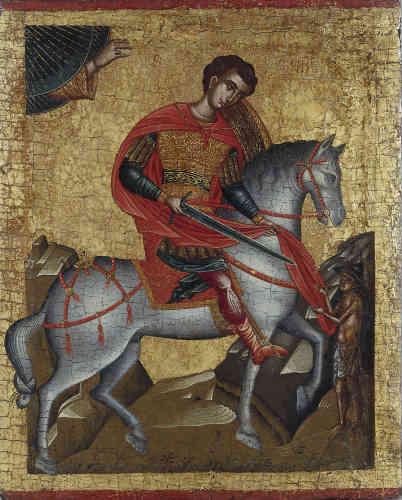 «Cette peinture est la seule icône de style byzantin de saint Martin répertoriée à ce jour. Martin est figuré à la façon des saints militaires byzantins, tels saint Georges, coupant son manteau pour en donner la moitié à un mendiant, représenté en petite taille à droite. La main de Dieu sortant d'un triangle en haut à gauche est caractéristique de l'école crétoise, de même que les deux rochers encadrant la scène. L'inscription du nom du saint en latin, dans le haut de l'icône, dénote une commande destinée à un client catholique.»