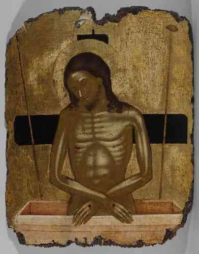 «Ce type d'image était destiné à la méditation sur la mort du Christ. Le Christ émerge à mi-corps du tombeau, il n'est pas encore ressuscité comme le montrent ses yeux clos et ses deux bras repliés. Malgré cette évocation dramatique, une douceur imprègne l'ensemble del'image. Les cheveux du Christ, reposant en boucles sur les épaules, atténuent les traces du supplice qui marquent ses mains et son flanc. Le grand aplat doré sur lequel est peint ce portrait ajoute au dépouillement de la scène.»