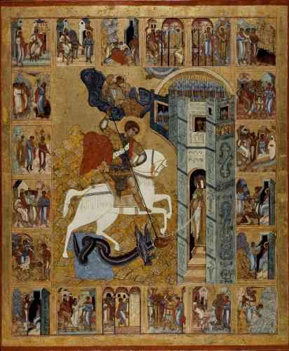 «Saint Georges est l'un des saints les plus représentés du monde chrétien. Sur cette icône monumentale, on le voit monté sur un cheval blanc, plantant prestement sa lance dans la tête du dragon ailé. Le monstre est tenu en laisse par la princesse qui aurait dû lui être livrée, postée au seuil d'une tour. Le roi et la reine assistent à la scène depuis une fenêtre, de même qu'une armée de soldats impuissants. Un ange, sortant des nuées, arrive vers le saint pour lui décerner la couronne de la victoire. La partie centrale est entourée de vingt épisodes de la vie du saint.»