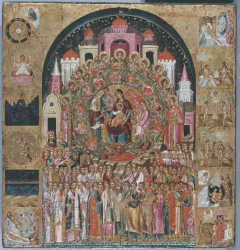 """«Cette icône est signée du peintre crétois Franghias Kavertzas, qui déploie tout son art de miniaturiste pour célébrer la Vierge en illustrant une hymne ancienne """"En toi se réjouit toute la Création"""", encore chantée aujourd'hui. Anges et saints célèbrent la gloire de la Vierge sur fond de Jérusalem céleste tandis que la Création du monde est illustrée dans les bordures.»"""