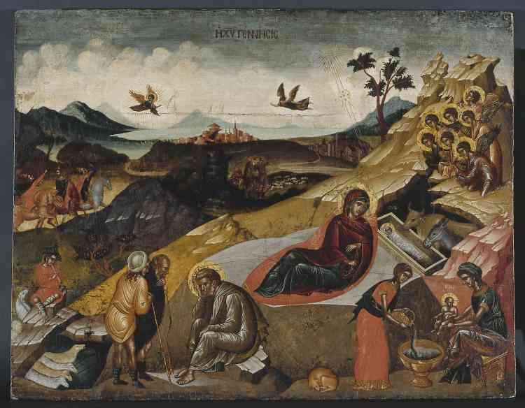 """«Cette icône de la Nativité du Christ est exceptionnelle par son style composite, réparti de part et d'autre d'une diagonale séparant le tableau en deux parties. La partie inférieure, inscrite dans le rocher où s'ouvre la grotte de la Nativité, est traitée dans le plus pur style byzantin. La moitié supérieure, où apparaissent Rois mages et bergers, est, quant à elle, constituée d'un paysage organisé dans le style de la Renaissance italienne, avec une perspective amenant l'œil dans le lointain. Le peintre s'est ici livré à un exercice de style où il démontre sa capacité àpeindre aussi bien à la """"maniera alla greca"""" qu'à la """"maniera all'italiana"""".»"""
