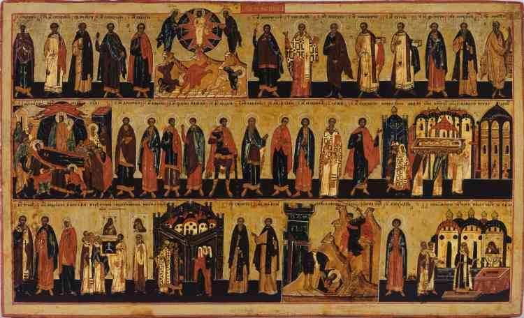 «Le terme ménologue désigne des icônes-calendriers. Les saints et les fêtes du mois, minutieusement représentés, sont ici disposés en trois rangées. La fête de la mort de la Vierge (appelée Dormition dans la tradition byzantine) est représentée au 15 août, comme en Occident. Le Petit Palais possède quatre icônes de cette même série probablement exposée dans une église à l'origine.»