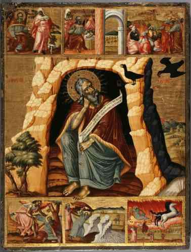 «Le prophète Elie est ici représenté en ermite. Assis au seuil de sa grotte, il tient la tête inclinée sur son poing, dans une attitude de méditation teintée de mélancolie. Il dirige son regard vers les deux corbeaux qui lui apportaient chaque jour du pain et de la viande, lors de sa retraite au désert. Des scènes de sa vie sont peintes dans les bordures placées en haut et en bas de l'icône, en particulier l'épisode de sa mort, où il fut enlevé au ciel sur un char de feu.»