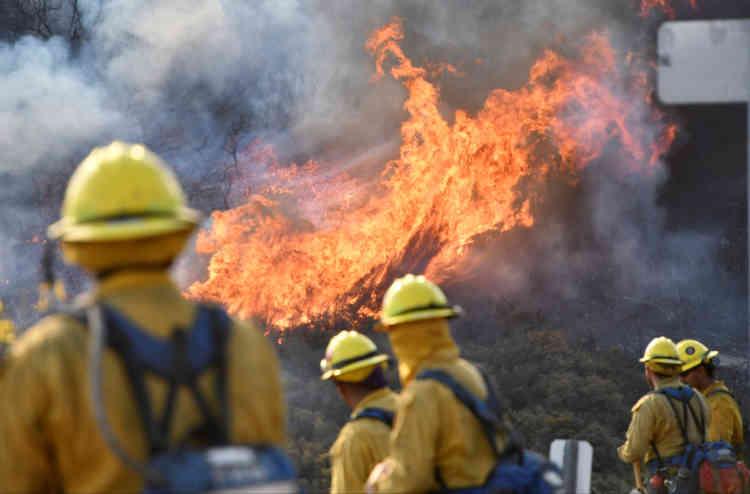 Sur le flanc nord de l'incendie Thomas, à Ojai, le 9décembre. C'est l'un des 20 plus gros incendies dans l'histoire de la Californie, selon l'ONG Climate Nexus.