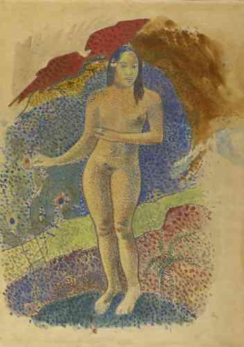 «Le dessin de Grenoble est une des premières représentations de l'Ève tahitienne, réalisée par Gauguin durant son premier séjour en terre maorie, de juin 1891 à juin 1893.»