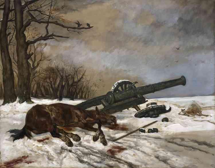 """«Lepic s'inspire ici d'une lithographie de Géricault intitulée """"Le Cheval mort"""", qui représente, à travers une suite de cinq feuilles, le cycle de vie des chevaux dans le monde paysan. En ajoutant le décor de neige et la pièce d'artillerie, il convertit le tragique agraire en drame militaire.»"""