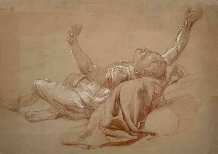 """«Cette étude d'homme renversé, au drapé savant, est directement préparatoire à la figure de Jacob dans """"L'Échelle de Jacob"""", l'imposante toile que Laemlein a présenté au Salon de 1847. »"""