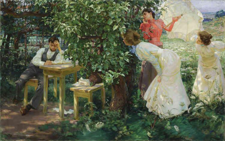 C'est en 1896 que Kupka s'installe àParis, dans le quartier de Montmartre, où il réalise ‒ pour gagner sa vie ‒ des dessins satiriques en tant qu'illustrateur. En mai 1899, il expose pour la première fois à Paris : la Société nationale des beaux-arts présente «Le Bibliomane»‒ ainsi que deux dessins au fusain.