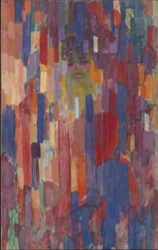 L'année 1910 marque un tournant décisif dans son œuvre. Survient alors la première rupture stylistique : l'art non-figuratif s'impose à lui comme une évidence, suggérant dans ses toiles ‒ comme ici ‒ la présence d'une silhouette féminine (son épouse) qui disparaît sous des lignes et hachures de couleurs.