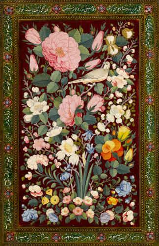 «Dans le domaine islamique, les laques désignent la production d'objets de papier mâché dont le décor est constitué de plusieurs couches de peinture et de vernis. La technique, très complexe, apparaît en Iran à la fin du XVe siècle sur des reliures de manuscrit. Elle atteint un degré de perfection inégalée à l'époque qajare. Elle y est déclinée sur des objets tels que des boîtes et des coffrets, des plumiers et des cartes à jouer, des étuis à miroir ou à lunettes et, bien sûr, des plats de reliure... Avec son décor d'oiseaux et de fleurs (gul va bulbul), la reliure du Musée du Louvre s'inscrit dans une tradition iconographique apparue au XVIe siècle et vraisemblablement déclinée depuis les peintures chinoises d'époque Song. Mais plus encore, ce thème se fait l'écho de la poésie médiévale iranienne, mystique et amoureuse, dans laquelle la rose et l'oiseau forment un couple récurrent.»