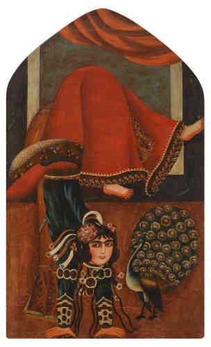 «Cette peinture appartient à un ensemble de toiles rapportées d'Iran par le peintre Jules Laurens (1825-1901), qui accompagne la mission scientifique de Hommaire de Hell en 1848. Les portraits peints à l'huile sur toile sont l'une des productions emblématiques de l'art qajar. Souvent de grandes dimensions, ils viennent orner les niches des palais et des riches demeures. Les représentations féminines, princesses, danseuses ou musiciennes, font partie intégrante d'un programme décoratif destiné à glorifier les richesses de l'Empire et les fastes de la cour.»