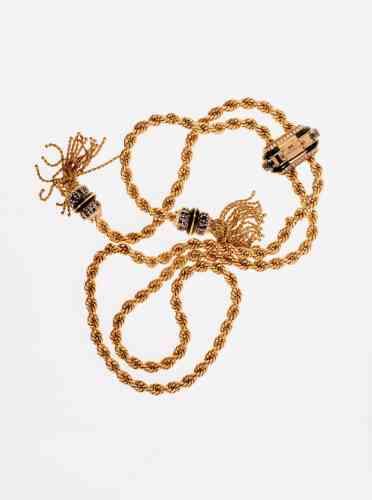 Collier liane en or rose, malachite, aigue-marine et diamants ronds, Van Cleff & Arpels.