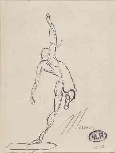«Mercure, messager des dieux, a le don de pouvoir voler. Fasciné par l'apesanteur, Rodin pousse parfois le saut jusqu'à l'envol, ajoutant des ailes à ses figures dessinées ou sculptées. Les archives témoignent d'un projet de Rodin pour un monument en hommage aux aviateurs.»