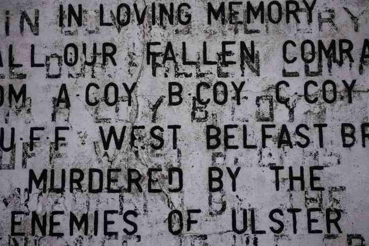 Détail d'une peinture murale loyaliste, à Shankill Road, Belfast, en 2017.