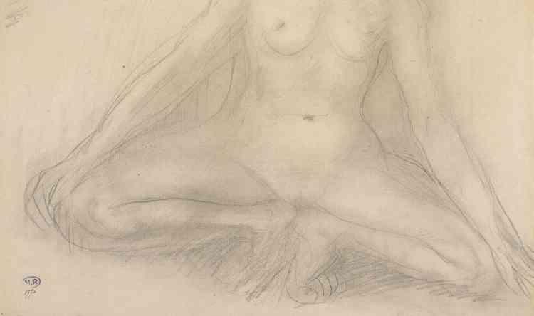«Le dessin appartient à la série réalisée d'après Alda Moreno, parallèlement au travail fait sur les statuettes. Cette figure accroupie correspond à un mouvement d'échauffement des danseurs. La symétrie du corps, les lignes dessinées par les bras et les jambes répondent à un souci de construction géométrique et d'équilibre.»