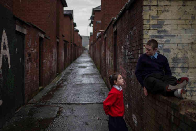 A Ardoyne, Belfast, en 2013. Cequartier républicain est gangrené par le chômage et la pauvreté.