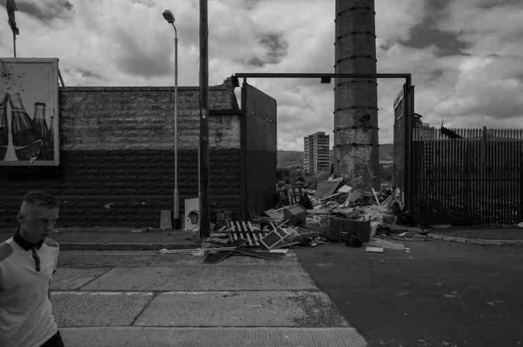 Une friche industrielle à Sandy Row, dans le sud de Belfast, en 2014.