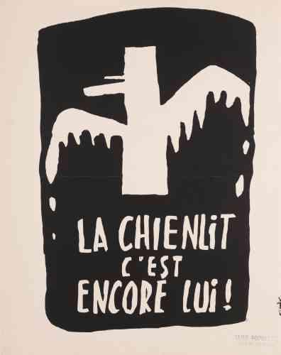 """«Le général de Gaulle est représenté en mouette. C'est une reprise de ses propos du 19mai [lors d'un conseil des ministres,le général avait lancé: """"La réforme, oui ! La chienlit, non!""""] qui désignaient la contestation étudiante.»"""