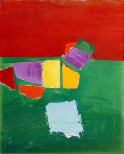 «Ce tableau fait partie de la série de toiles peintes aux Martigues. L'intensité de la lumière se traduit ici dans une palette qui oppose une mer verte à un ciel rouge. Les bateaux sont ici de simples aplats de jaune, de violet, de rouge et de bleu. L'abstraction permet de rester dans l'immédiateté de la perception.»