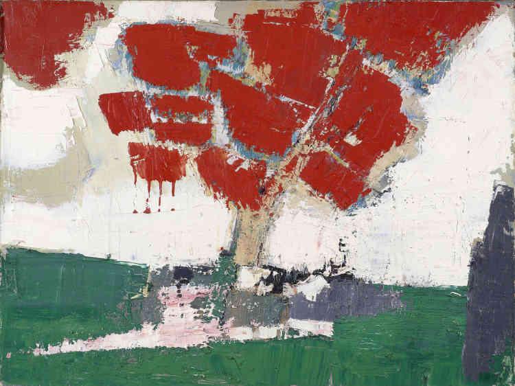 «L'arbre rouge montre la façon dont le peintre utilise les contraires et les oppositions au cœur de sa palette pour donner vie à la peinture. Le poids de l'arbre est ici inversé avec un rouge ascendant qui semble vouloir sortir des limites du cadre.»
