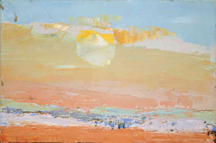 «Les couchers de soleil apparaissent dans plusieurs tableaux de Nicolas de Staël peints à Ménerbes. Ici, le soleil est saisi au moment de sa disparition, après avoir embrasé le ciel.»