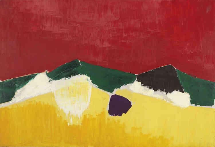 «Dans ce paysage de Sicile de grand format, la palette des jaunes se déploie au premier plan créant un contraste d'une grande intensité lumineuse avec le ciel rouge et les montagnes vertes.»