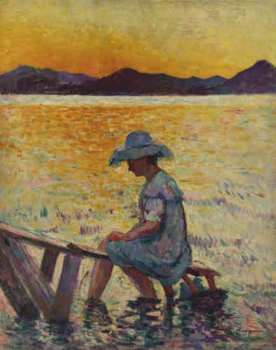 «Manguin se rend pour la première fois à Saint-Tropez durant l'été 1904, où la lumière naturelle de la Côte d'Azur lui permet d'utiliser des tons violents, comme le jaune orangé du soleil couchant, et les reflets violets et verts qui animent la surface de l'eau. L'ardeur des couleurs annonce le fauvisme en gestation. Le mouvement s'imposera l'année suivante, lors du Salon d'automne de 1905.»