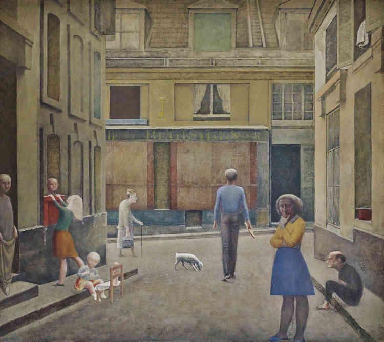 """«C'est encore dans son atelier parisien de la cour de Rohan que Balthus commence en 1952 à travailler à son œuvre majeure, le """"Passage du commerce Saint-André"""", qu'il termine deux ans plus tard au château de Chassy en Bourgogne. Cette peinture de grand format montre un coin de rue, celui justement où se trouvaient l'atelier et le domicile de l'artiste. Balthus poursuit ici la thématique qu'il avait abordée dès 1933 dans """"La Rue"""" en transformant une rue parisienne existante en un théâtre plein de mystère, où le temps semble arrêté.»"""