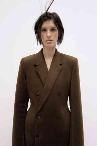 Manteau homme en laine 3D, double boutonnage, Balenciaga.