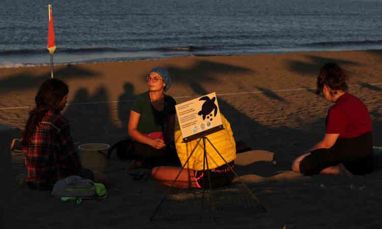 Ayfer Sirin, un chercheur du DEKAMER et des volontaires marquent un nid pour protéger les œufs des touristes visitant la plage, le 4 juillet.