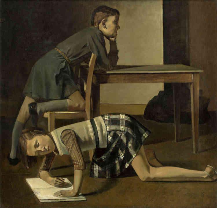 «A partir de 1936, la jeune Thérèse Blanchard devient le modèle préféré de Balthus. Elle le restera jusqu'en 1939. De nombreuses œuvres présentent Thérèse pensive et sérieuse, à la manière d'un portrait classique en buste. D'autres mettent particulièrement en avant son charme et son magnétisme érotique. Balthus a peint ici cette jeune fille de 12 ans – qui habitait probablement dans le voisinage immédiat de son atelier – avec son frère Hubert, de deux ans son aîné.»