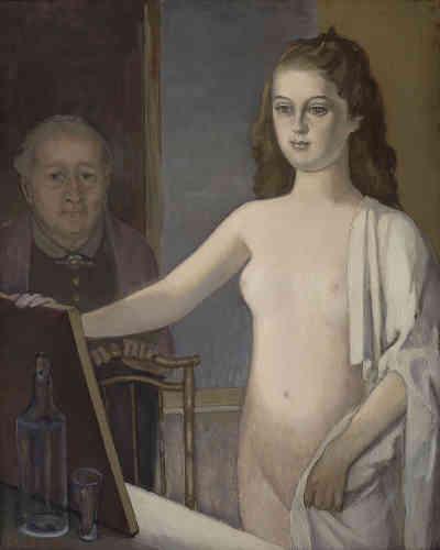 """«Après un long séjour en Suisse, Balthus rentre en 1946 à Paris où il reste jusqu'en 1954. Dans """"Jeune fille au miroir"""", de 1948, une jeune adolescente se tient, nue, devant un miroir. Seules une épaule et ses parties intimes sont partiellement recouvertes d'un drap. Derrière, dans l'ombre, on aperçoit, plus petite, une vieille femme. Il existe une longue tradition du miroir dans l'art, que ce soit comme attribut de Vénus, comme symbole de vanité ou comme instrument de divination.»"""