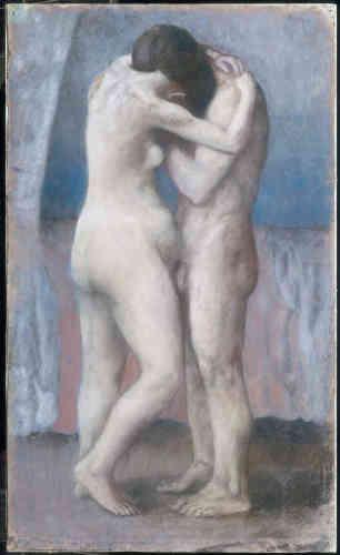 L'amour et l'érotisme: Picasso va quitter progressivementles sujets graves, ou mélancoliques, de la période bleue pour des thèmes plus légers. Ici, le traitement des figures est plus charnel et sensuel. Picasso ne représente plus de corps amaigris.