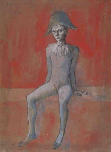 Développé simultanément en peinture, dessin, gravure et sculpture, le cycle des«Saltimbanques» apparaît à la fin de l'année 1904, il s'étend et se développe jusqu'en 1905. On y distingue deux thématiques principales: celle de la famille, mettant en scène la paternité d'Arlequin, et celle du cirque.