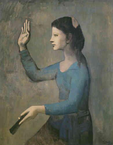 Ni dramatique, ni joviale, cette toile, dont le modèle est un peu hiératique, a été réalisée dans l'atelier de Picasso au Bateau-Lavoir, à Paris. Le traitement du corps, à la fois dynamique et sculptural, et de la lumière donne au tableau une aura particulière.