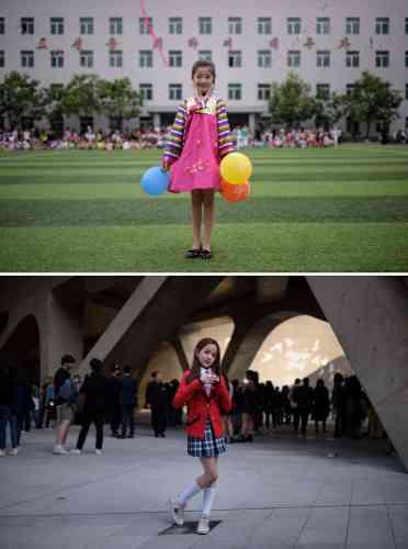 En haut, Kim Song-jong (9 ans) lors d'un spectacle de danse pour la fête des enfants à Pyongyang. En bas, Yoon Hyerim (10 ans) après une exhibition de la même sorte, lors de la Fashion Week de Séoul.