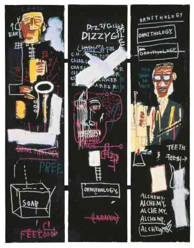 """« La musique est insdissociable de l'œuvre de Basquiat. Il va même jusqu'à fonder un groupe, nommé """"Gray"""", avec Nicolas Taylor et Michael Holman (avec qui il s'est produit notamment au Mudd Club, une boîte de nuit du quartier deTriBeCaà New York). Ses œuvres en elles-mêmes‒ mélangeant peinture acrylique, crayon gras et collage‒ forment une sorte d'improvisation hip-hop ou jazzy. Notons qu'il admirait Charlie Parker, Miles Davis, Dizzy Gillespie et Duke Ellington.»"""