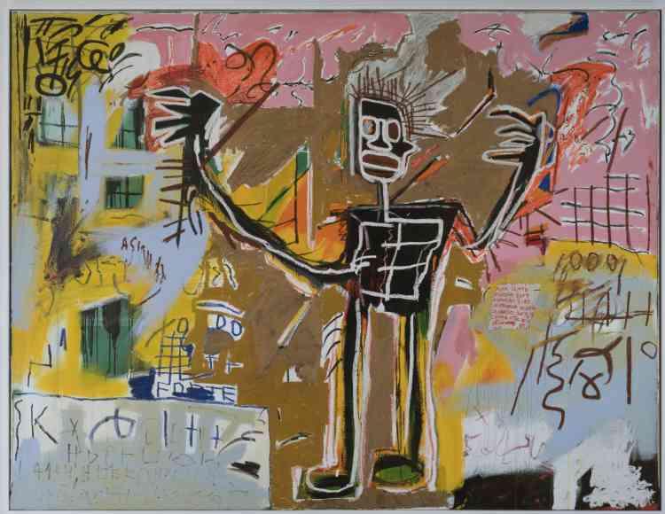 «Figures d'athlètes ou de musiciens, représentations allégoriques de saints, de combattants ou de condamnés, Jean-Michel Basquiat va forcer le trait de ces corps pour les montrer dans une position dominante. A travers ces figures inhumaines et surdimensionnées, il témoigne de la lutte de l'homme noir contre l'oppression et le racisme qu'il subit (violence policière et persécutions).»