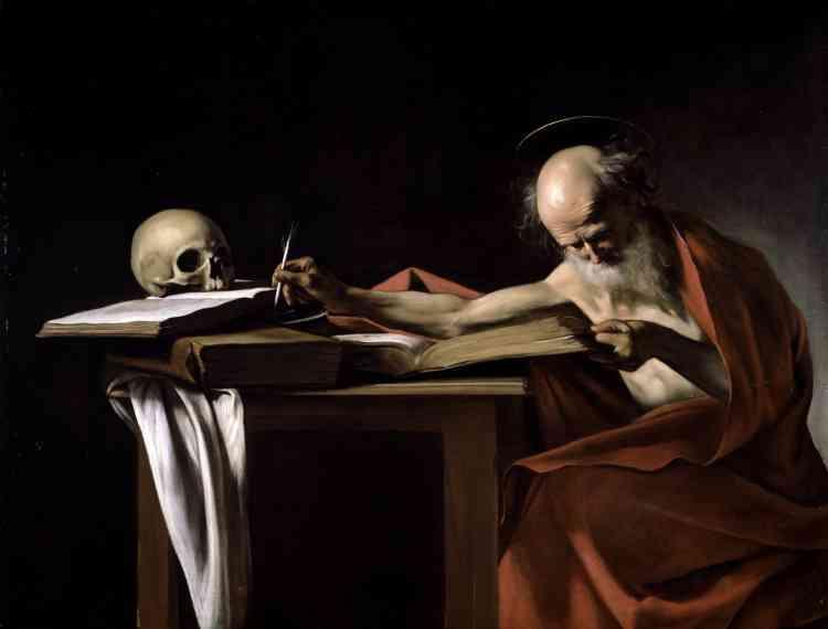Francesca Cappelletti : «Ce chef-d'œuvre fait partie des collections de la famille Borghèse, dès le XVIIe siècle. Le saint est representé en train de traduire la Bible, dans un intérieur épuré. Son visage est contre-balancé par la présence d'un crâne posé sur les livres, à l'extrémité du tableau.On peut le dater de l'année 1605, vers la fin du séjour romain du Caravage.»